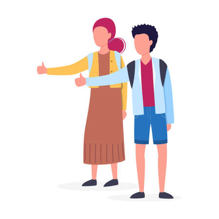 Hitchhiker concept. Young woman and man with backpack. Hitchhiking tourism. Isolated vector illustration