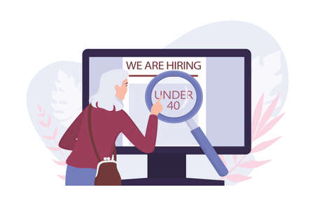 Recruitment ageism concept. Unfairness and employment problem of seniors. Human resources department hire people under 40 only. Isolated vector illustration