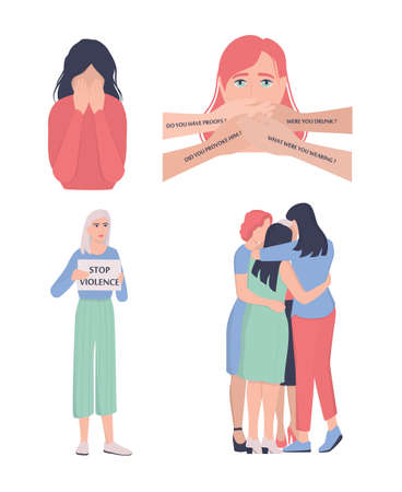 Sexual harassment and victim shaming concept. World social gender problem