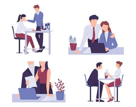 Harcèlement sexuel sur le lieu de travail. Comportement d'agression et d'abus.