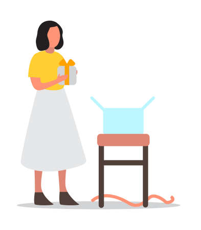 Happy girl holding a gift box. Delivery service concept. Girl open a present. Isolated flat vector illustration