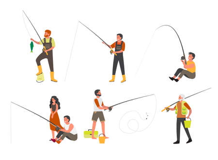 People fishing with fishing rod and ned set. Summer outdoor activity, nature tourism. People with fishing equipment and fish. Sport fishing competition. Isolated flat vector illustration  イラスト・ベクター素材