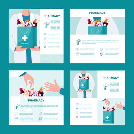 Pharmacy web banner or advert brochure set. Medicine pill for disease treatment and prescription form. Medicine and healthcare. Drugstore booklet or flyer. Isolated vector illustration