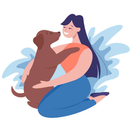 Womany with a dog. Happy girl and pet spend time together. Friendship between animal and human. Isolated illustration in cartoon style