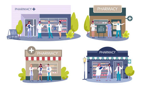 Modern pharmacy building exterior. Professional medicine worker sell medicaments and drugs. Healthcare and medical treatment concept. Vector illustration in cartoon style