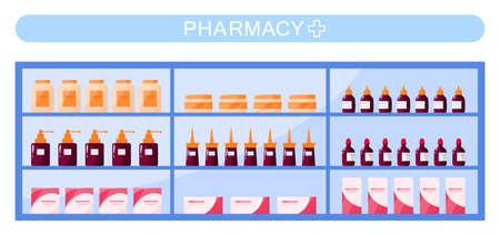 Modern pharmacy shelves with medicament's and drugs. Vektorové ilustrace