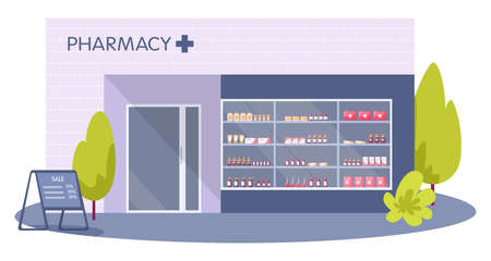 Modern pharmacy building exterior. Order and buy medicament's Illustration