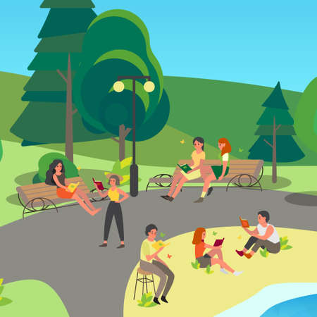 People reading book in the park. Collection of man and woman who read in outdoor. Person study. Isolated vector illustration in cartoon style