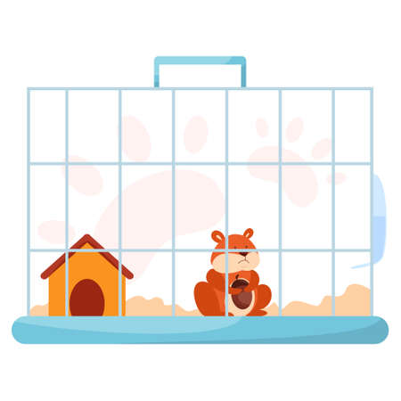 Cute funny hamster in cage. Adorable small domestic hamster Vektorové ilustrace