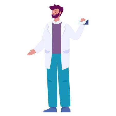 Doctor or pharmacist in uniform. Professional medicine worker