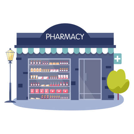 Modern pharmacy building exterior. Order and buy medicaments