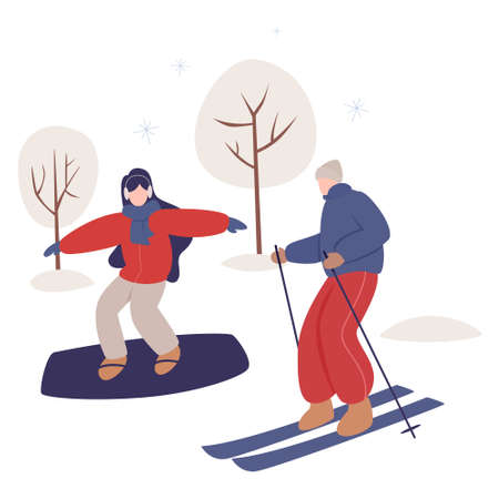 Woman riding snowboard and man skiing. Happy young people doing sport. Isolated vector illustration of people wearing warm winter clothes. People walk outside in cold season.