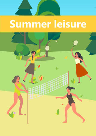 People in the public park. Woman having fun, playing badminton and beach volleyball in the city park. Summer leisure. Vector illustration in cartoon style