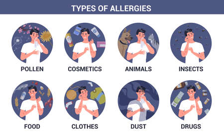 Types of allergies infographics set. Runny nose and itchy skin.