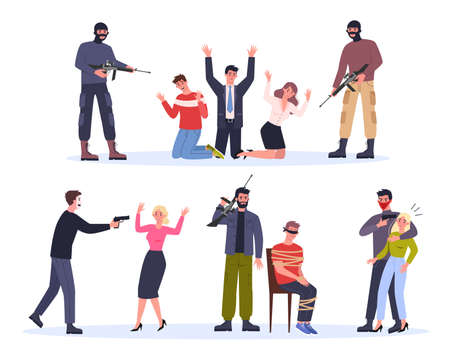 Terrorist and hostage. Man in mask holding gun and attack people. Ilustración de vector