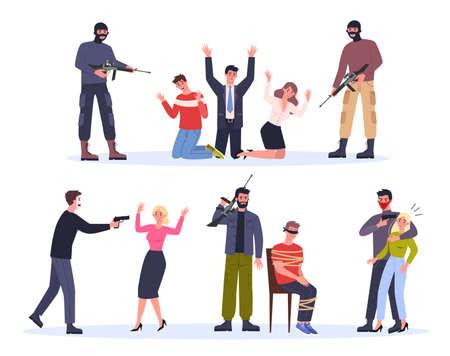 Terroriste et otage. Homme au masque tenant un pistolet et attaque les gens. Vecteurs