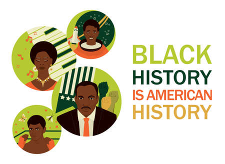 Black history month banner. Famous Afro American people