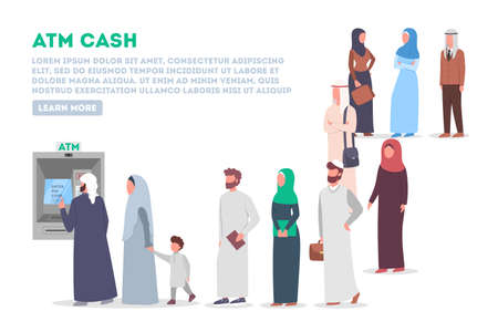 Long queue to ATM. Muslim people standing in queue to ATM. Bank machine, automatic financal operation. Isolated vector illustration in flat style 일러스트