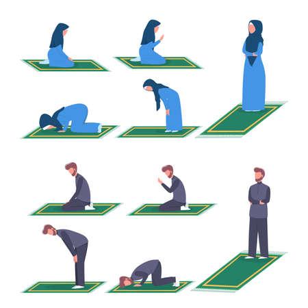 Muslim woman and man praying position. Woman and man