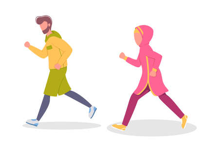 Muslim couple of jogger run together. Sport training and exercise