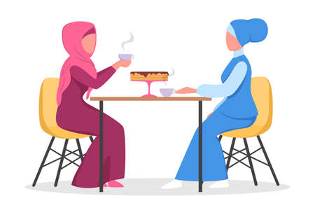 Female muslim characters in traditional clothes eating in cafe. Two woman having a coffee with desert in bakery. Vector illustration.