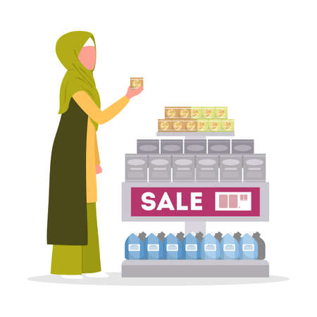 Muslim woman wearing a hijab and traditional arabian clothes walking with shopping basket in supermarket. Character bying food in the store. Isolated flat vector illustration