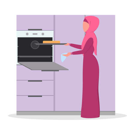 Muslim woman cooking dinner for family at home. Arabian female character making tasty cake on the kitchen. Isolated flat illustration