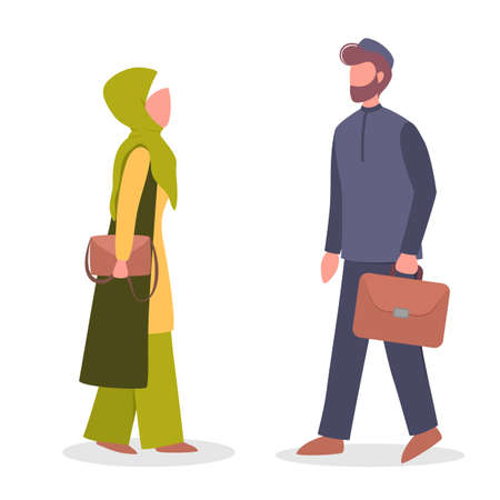 Arab businessman and businesswoman standing with briefcase in national clothes