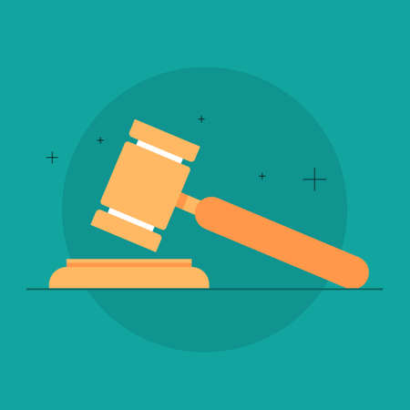 Judge or auction hammer. Wooden gavel used for verdict. Isolated vector illustration