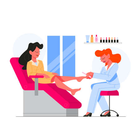 Beauty center service concept. Beauty salon visitors having diffrent procedure. Female character in salon getting pedicure. Isolated vector illustration