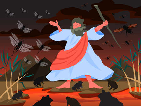 Bible narratives about Plagues of Egypt. Christian bible character. Çizim