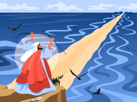 Bible narratives about Moses miracle. Christian bible character. Vettoriali