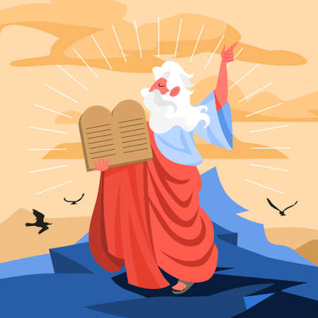 Bible narratives about Moses miracle. Christian bible character. Çizim