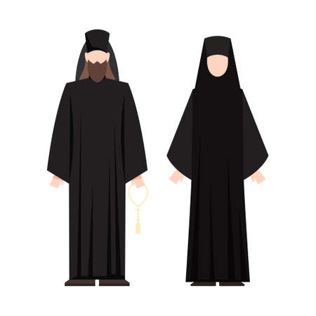 Religion people wearing specific uniform. Male and female religious figure. Christian monk. Flat vector illustration Vettoriali