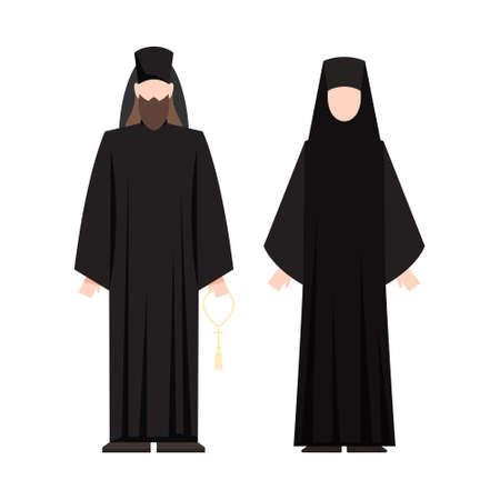 Ludzie religii noszący określone mundury. Męska i żeńska postać religijna. Mnich chrześcijański. Płaska ilustracja wektorowa Ilustracje wektorowe