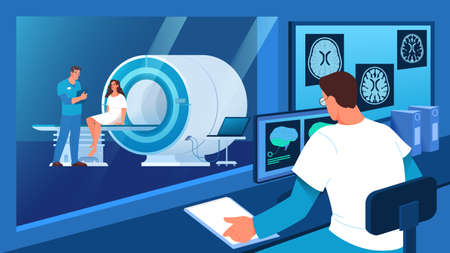 Magnetic resonance imaging in hospital. Medical research
