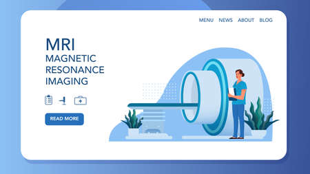 MRI clinic website banner concept. Medical research and diagnosis. Ilustrace