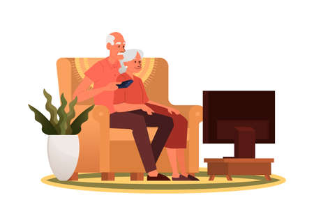 Old couple sitting on sofa and watching TV. Grandfather and grandmother