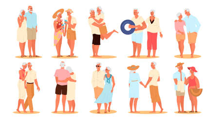 Happy and active seniors spending time on the beach set. Retired couple on their summer vacation. Woman and man on retirement. Vector illustration in cartoon style Ilustração