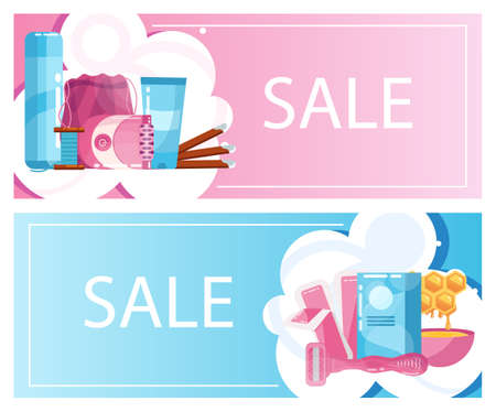 Epilation or hair removal tool advert discount flyer set. Ilustracja