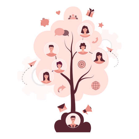 Referral program concept. A tree as metaphor of referral marketing Ilustrace