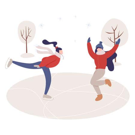 Two woman ice skating. Young happy wman doing sport. Zdjęcie Seryjne - 140836486
