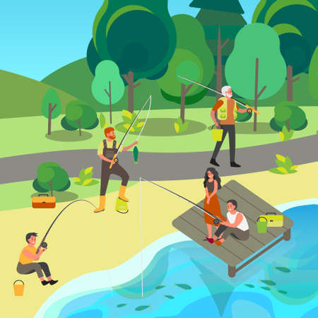 People fishing with fishing rod and ned in the park. Summer outdoor activity  イラスト・ベクター素材