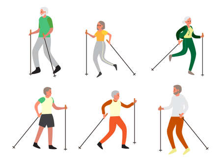 Old man and woman doing nordic walking together set. Stock Illustratie