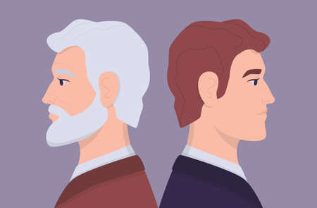 Young and old man faces in profile . Young and elderly person