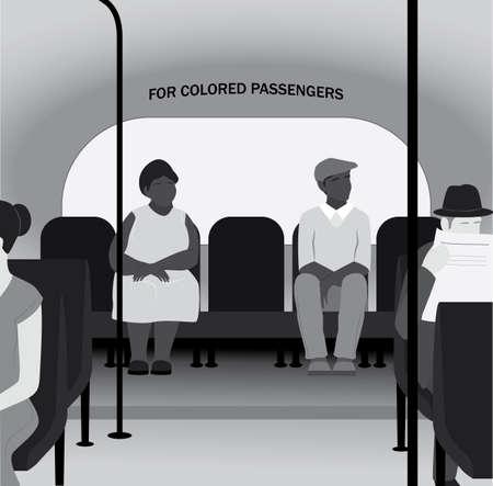 Racism in th 20th century concept. Black people sit in the back Ilustración de vector