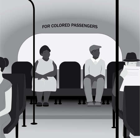 Racism in th 20th century concept. Black people sit in the back