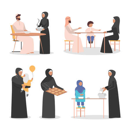 Happy arab family spend time together at home set. Muslim character
