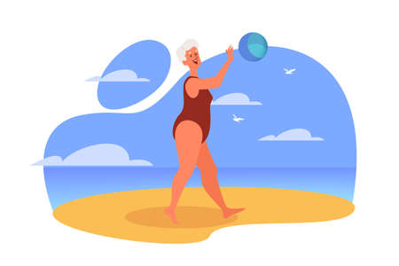 Happy and active senior spending time on the beach. Retired woman on her summer vacation. Old lady in a swimsuit playing a volleyball. Vector illustration in cartoon style Ilustração