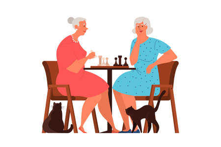 Old people play chess. Elderly peope sitting at the table with chessboard. Chess tournament between two old women. Isolated vector illustration in cartoon style  イラスト・ベクター素材